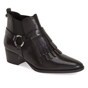 Marc Fisher LTD Rayna Fringe Black Leather Booties